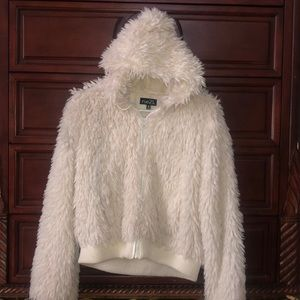 White Fur Coat with Hoodie